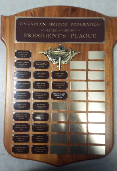 CBF President's plaque